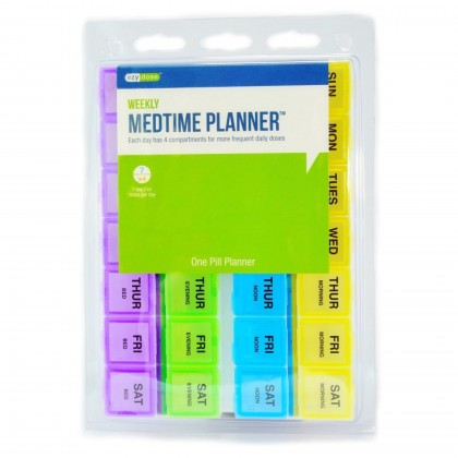 EZY DOSE Weekly Four Times Daily Pill Tablet Medtime Planner box Container
